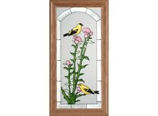 11x22 GOLDFINCH Bird Floral Stained Art Glass Framed Suncatcher