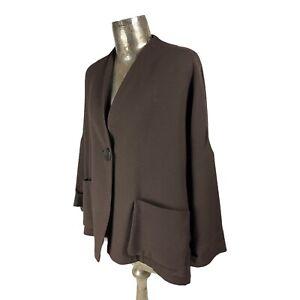 OSKA Dark Brown Wool Jacket Coat Blazer Top UK L 14 (EU42) Women's Oversize