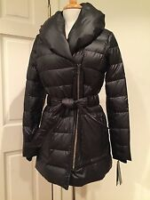 Kenneth Cole NY Lightweight Long Down Coat Puffer Thick Warm Black XS $245 NWT