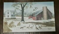 """NEW Headin' South Framhouse Red Barn Canvas Primitive Billy Jacobs 20"""" x 12"""""""
