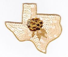 Stunning Texas state rose sequin bead applique patch motif crafts sewing