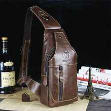 Men's Leather Sling Chest Backpack Shoulder Bags Front Pack Cycle Satchel