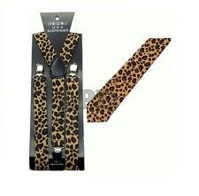 New Awesome Black & Brown Cheetah Print Design NeckTie & Suspender Set Combo