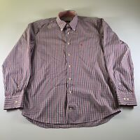 Barbour Men's Check Red/Blue Multicolour Regular Fit Shirt Size L Large