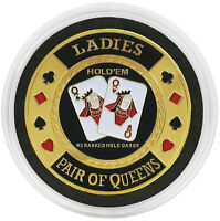 LADIES Texas Holdem SILVER Color Poker Card Guard Cover Protector Coin QUEENS