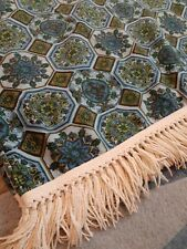 Vintage Twin Bed  Bedspread Cover  with fringes Tile print Green Blue