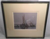 Watercolour F Firth Coastal Scene With Fishing Vessels Signed Mounted Framed Boa