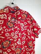 Hawaiian Shirt Mens XL Blue Flowers Tropical Hibiscus Cotton Camp Floral