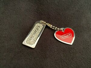 COACH Signature Dog/Cat  Red Heart & Rectangular Rhinestone Metal Collar Charms