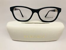 ▪️New Versace MOD 3212-B GB1 Black & Gold Eyeglasses with Crystals  54mm w/Case