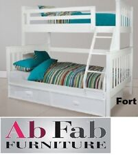 FORT SINGLE DOUBLE WHITE TIMBER TRIO BUNK BED AND TRUNDLE