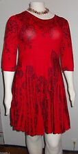 Women's 2X Red Black Light Weight Pleated Sweater Dress the Paragon