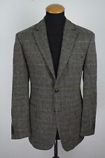 Tweed CHRISTIAN BERG Uomo Blazer Taglia 40R GRIGIO LANA GR. 50 toppe sui gomiti