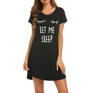 Women Summer Short Sleeve Cartoon Nightgown Sleepwear Top Sleep Dress Nightshirt