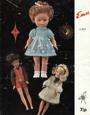 """#151 Dolls Outfits (Large Doll H14"""") & Barbi Size Doll H11.5"""") Knitting Pattern"""