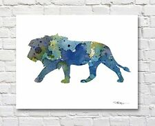 Blue Lion Abstract Watercolor Wildlife Painting Art Print by DJR