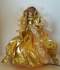 """Fiber Optic Angel Christmas Tree Topper Gold Color Changing Table Top 16.5"""""""