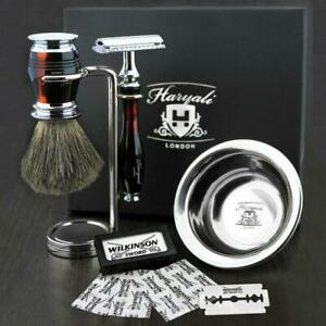 Luxury Complete Grooming Shaving Set with Free Blades | DE Safety Razor & Brush