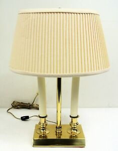 "House of Troy Solid Polished Brass 18"" Two Candle Traditional Desk Lamp w/ Shade"