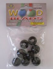 Pepperell Round Wood Beads, 20mm, 8-Pack Black