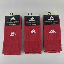 Lot of 3 adidas Menace Crew Socks Red Gray Climalite Traxion Men's Size M 6.5-9