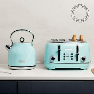 Duck Blue Heritage Kettle and Toaster Set Small Kitchen Appliances Home Gadget