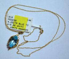 NEW 14k Yellow Gold Chain w/Marquise Cut 4.25CTR Blue Topaz & Diamonds Pendant!