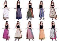 10 PC Lot Soie Sari Enroulé Gratuit Taille Vintage Jupe Hippie Gypsy Jupe Longue