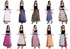 10 PC LOT Silk Sari Wrap Around Free Size Vintage Boho Hippie Gypsie Long Skirt