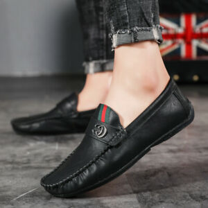 Mens Slip On Faux Leather Shoes Deck Moccasin Loafers Driving Shoes UK Black UK