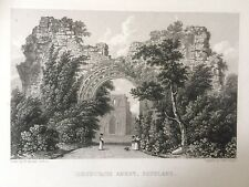 1829 Antique Print;  Dryburgh Abbey, St.Boswell's, near Melrose, Borders