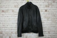 Zara Man Black Leather Jacket size XL