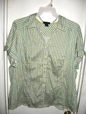 42a2e1bcfa8 Lane Bryant White Green Yellow Purple Striped Button Front Top Shirt Size 28