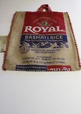 (RED HANDLES) Royal Basmati Rice Burlap Zipper Bag Sack w/ Handles (India) EMPTY