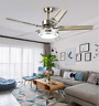 """52"""" Silver Ceiling Fan Light w/ Stainless Steel Blade Remote Control 3-Color LED"""