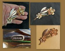 """Sterling Silver Copper Plate Large Floral Pin 4"""" L X 1 3/4"""" W5"""