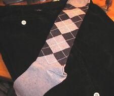 Nautica men's black corduroy golf knickers, white buttons, argyle socks, 32