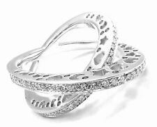 New! Authentic Pasquale Bruni 18k White Gold Diamond Crossover Large Ring