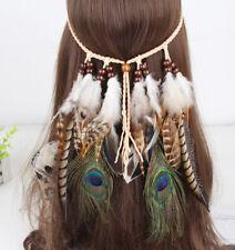 Women's Boho Hippy Indian Feather Tassel Headband Festival Weave Hairband Party