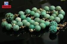 Vintage Chinese Turquoise Necklace and Earrings 14K Gold Clasp