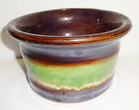 Vintage Primitive Hand Made Hand Spun Glazed Painted Pottery Brown Green Bowl