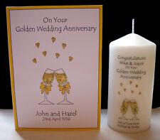 personalised golden 50th wedding anniversary gift set mum & dad couple friend
