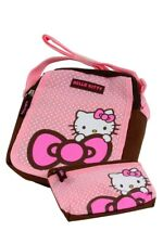 Hello Kitty Ragazze Pink & White Dotty Scuola Per Bambini Gatto Borsa A Tracolla Borsetta &