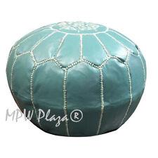 MPW Plaza Pouf, Teal Green, Moroccan Leather Ottoman (Un-Stuffed)