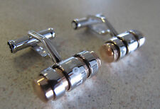 Montblanc Cufflinks 3 rings Sterling Silver 925 Stainless Steel Gold Germany