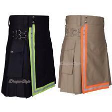 New Men's Firefighter Reflector Scottish Utility Kilt Adult Handmade Cotton
