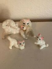 White Cat with 3 Kittens Figurines