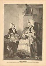 Child, Pet Puppy, Gift For Grandmother, Vintage 1889 German Antique Art Print