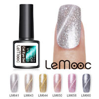 LEMOOC 8ml Nagel Gellack Magnetisch Cat Eye Glitzern Sequins Soak Off UV Gel