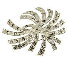 Silver Large Flower Bridal Brooch Rhinestone Crystal Diamante Wedding Broach Pin
